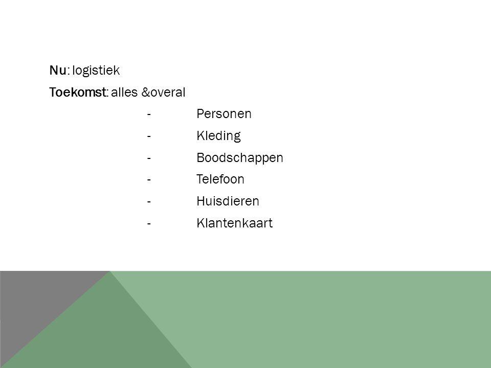 Nu: logistiek Toekomst: alles &overal -Personen -Kleding -Boodschappen -Telefoon -Huisdieren -Klantenkaart