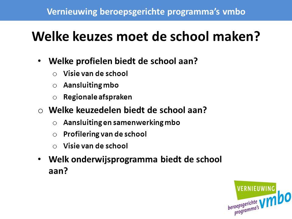 Welke keuzes moet de school maken? Vernieuwing beroepsgerichte programma's vmbo Welke profielen biedt de school aan? o Visie van de school o Aansluiti