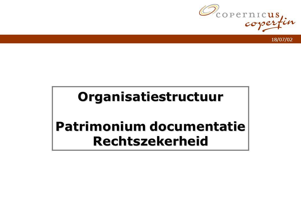 p. 1Titel van de presentatie 18/07/02 Organisatiestructuur Patrimonium documentatie Rechtszekerheid