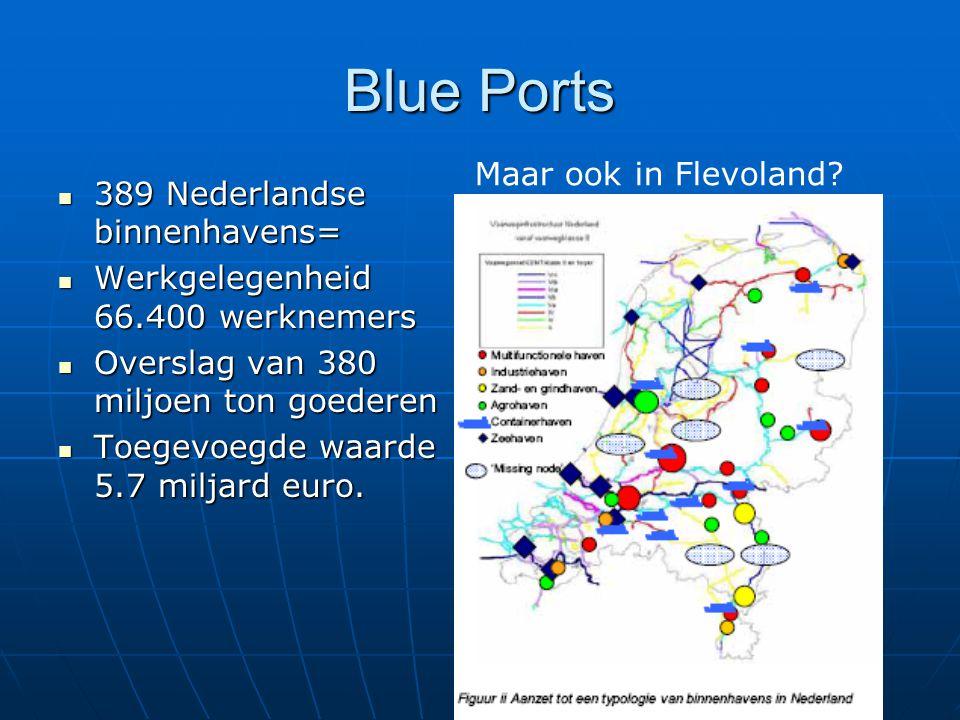 Blue Ports 389 Nederlandse binnenhavens= 389 Nederlandse binnenhavens= Werkgelegenheid 66.400 werknemers Werkgelegenheid 66.400 werknemers Overslag van 380 miljoen ton goederen Overslag van 380 miljoen ton goederen Toegevoegde waarde 5.7 miljard euro.