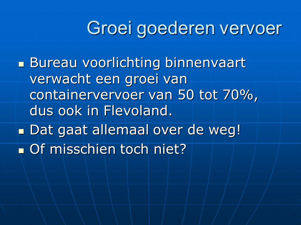 Groei goederen vervoer Bureau voorlichting binnenvaart verwacht een groei van containervervoer van 50 tot 70%, dus ook in Flevoland.