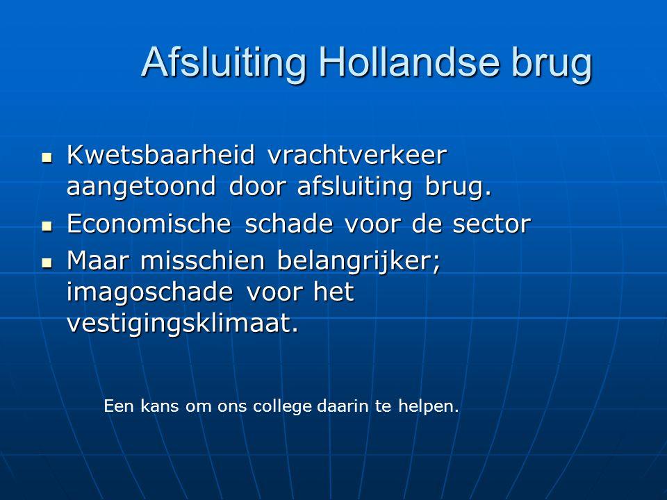 Afsluiting Hollandse brug Kwetsbaarheid vrachtverkeer aangetoond door afsluiting brug.