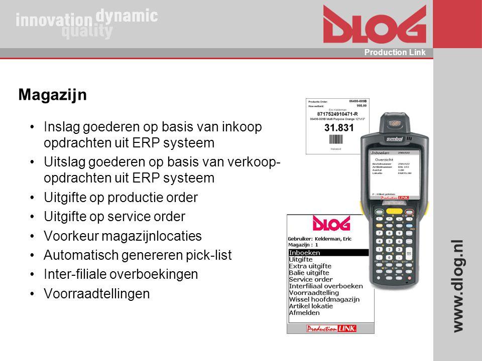 www.dlog.nl Production Link Magazijn Inslag goederen op basis van inkoop opdrachten uit ERP systeem Uitslag goederen op basis van verkoop- opdrachten
