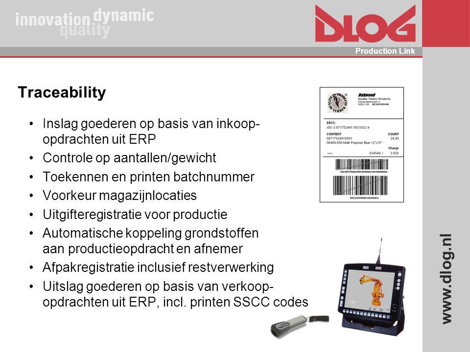 www.dlog.nl Production Link Traceability Inslag goederen op basis van inkoop- opdrachten uit ERP Controle op aantallen/gewicht Toekennen en printen ba