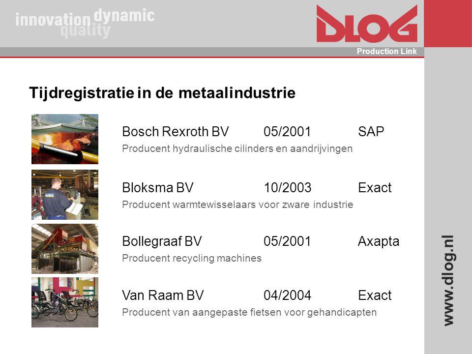 www.dlog.nl Production Link Tijdregistratie in de metaalindustrie Bosch Rexroth BV05/2001SAP Producent hydraulische cilinders en aandrijvingen Bloksma