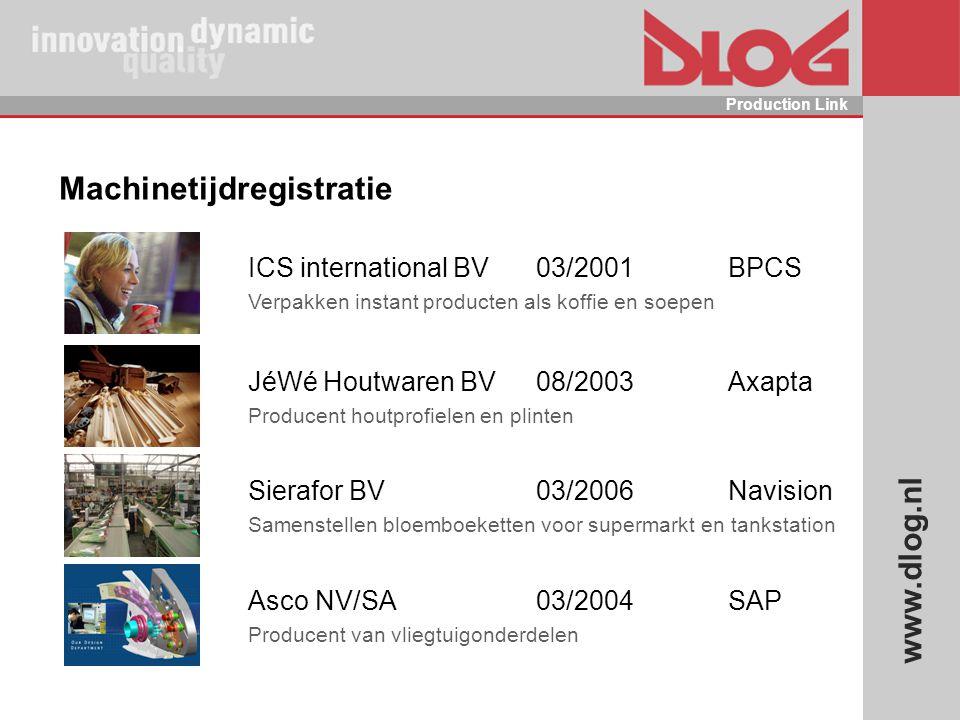 www.dlog.nl Production Link Machinetijdregistratie ICS international BV03/2001BPCS Verpakken instant producten als koffie en soepen JéWé Houtwaren BV0