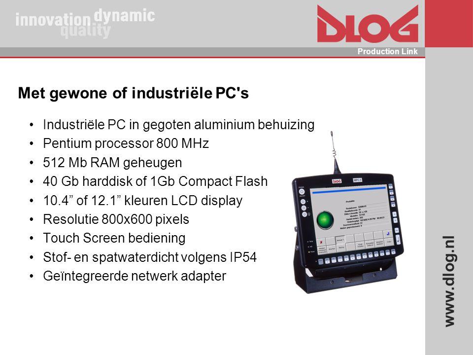 www.dlog.nl Production Link Met gewone of industriële PC's Industriële PC in gegoten aluminium behuizing Pentium processor 800 MHz 512 Mb RAM geheugen