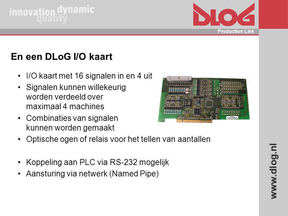 www.dlog.nl Production Link En een DLoG I/O kaart I/O kaart met 16 signalen in en 4 uit Signalen kunnen willekeurig worden verdeeld over maximaal 4 ma