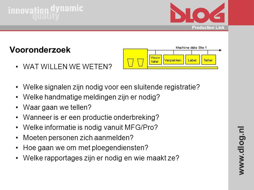 www.dlog.nl Production Link Vooronderzoek WAT WILLEN WE WETEN? Welke signalen zijn nodig voor een sluitende registratie? Welke handmatige meldingen zi