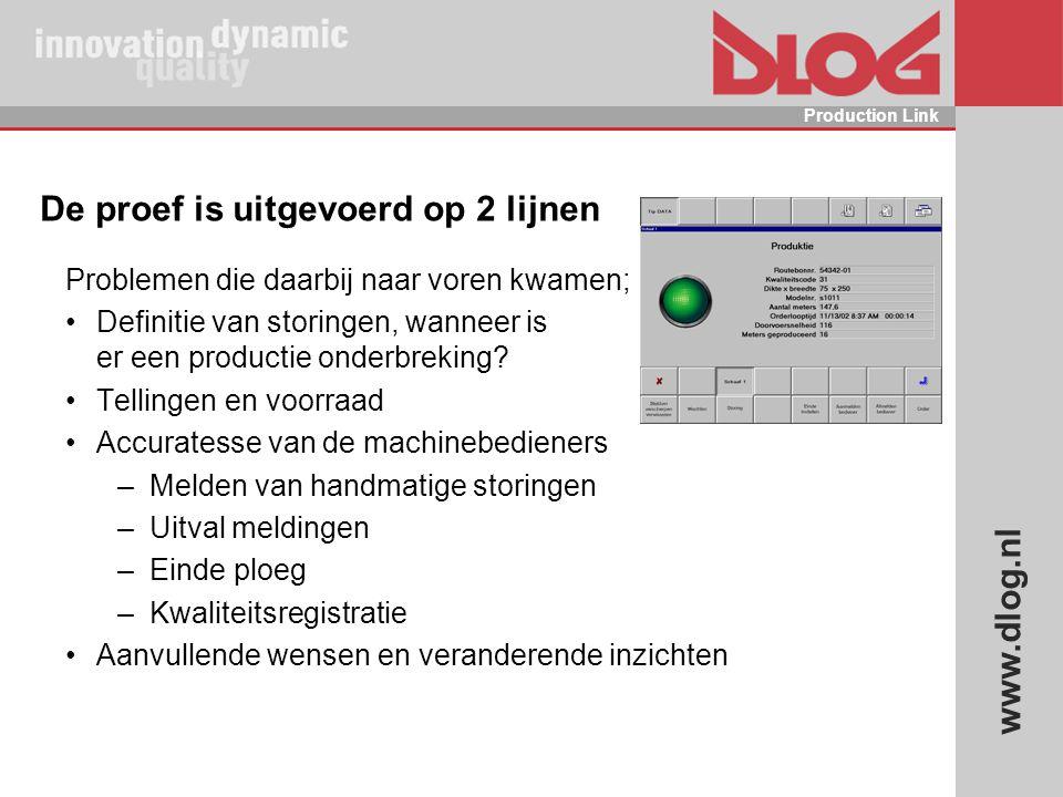 www.dlog.nl Production Link De proef is uitgevoerd op 2 lijnen Problemen die daarbij naar voren kwamen; Definitie van storingen, wanneer is er een pro