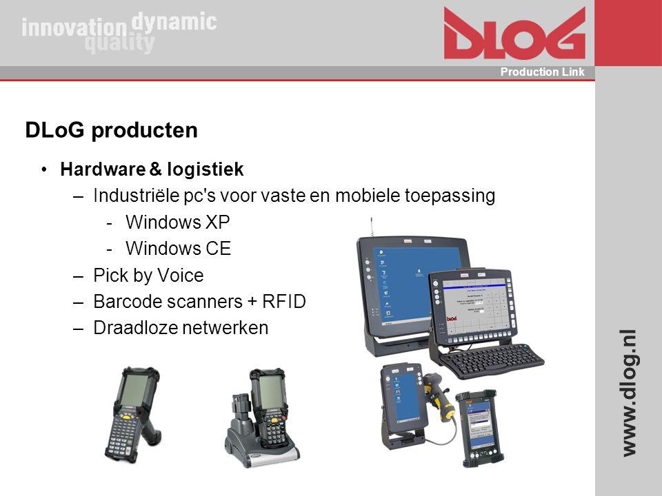 www.dlog.nl Production Link DLoG producten Hardware & logistiek –Industriële pc's voor vaste en mobiele toepassing  Windows XP  Windows CE –Pick by