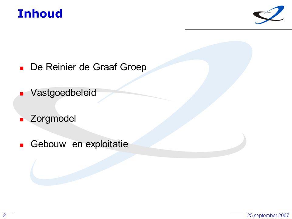 25 september 20072 Inhoud De Reinier de Graaf Groep Vastgoedbeleid Zorgmodel Gebouw en exploitatie