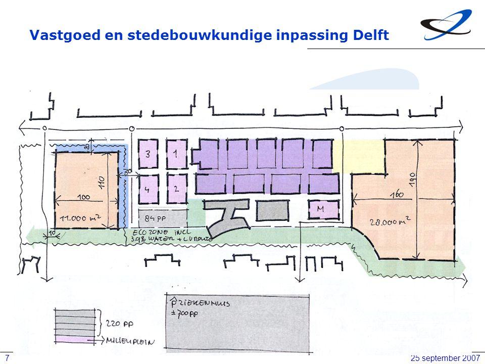 25 september 20077 Vastgoed en stedebouwkundige inpassing Delft