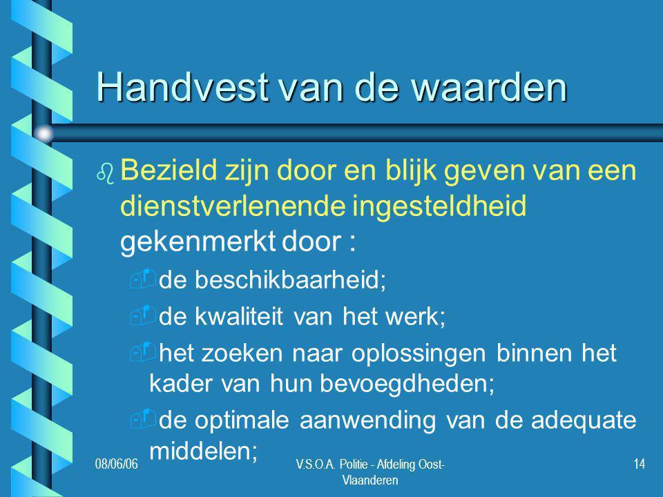 08/06/06V.S.O.A. Politie - Afdeling Oost- Vlaanderen 14 Handvest van de waarden b b Bezield zijn door en blijk geven van een dienstverlenende ingestel