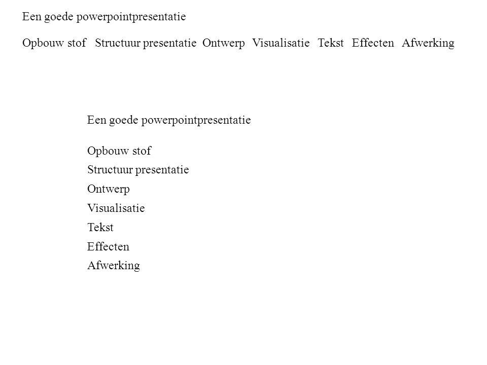 Een goede powerpointpresentatie Opbouw stof Structuur presentatie Ontwerp Visualisatie Tekst Effecten Afwerking