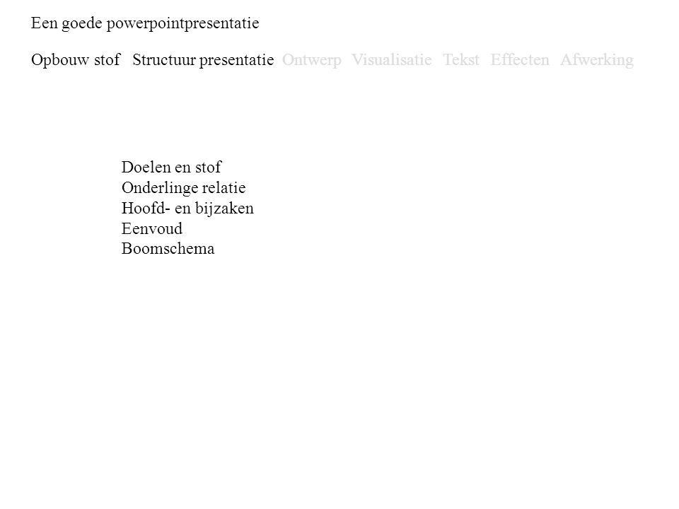 Een goede powerpointpresentatie Opbouw stofStructuur presentatieOntwerpVisualisatieTekstEffectenAfwerking Een goede powerpointpresentatie Opbouw stof
