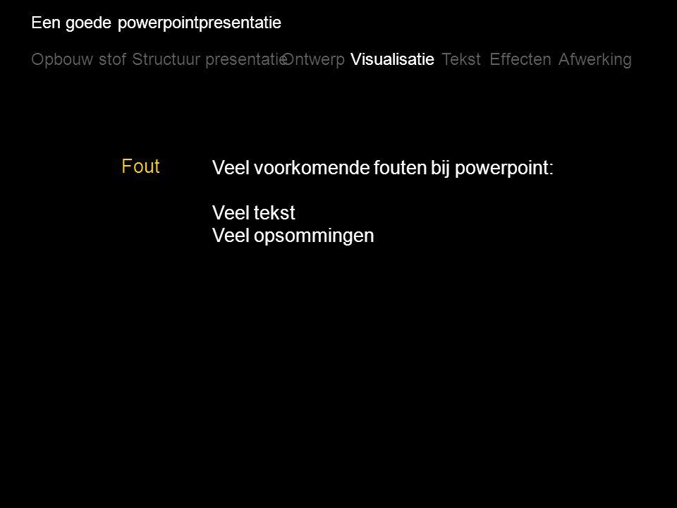 Een goede powerpointpresentatie Opbouw stofStructuur presentatieOntwerpVisualisatieTekstEffectenAfwerking Voorbeelden