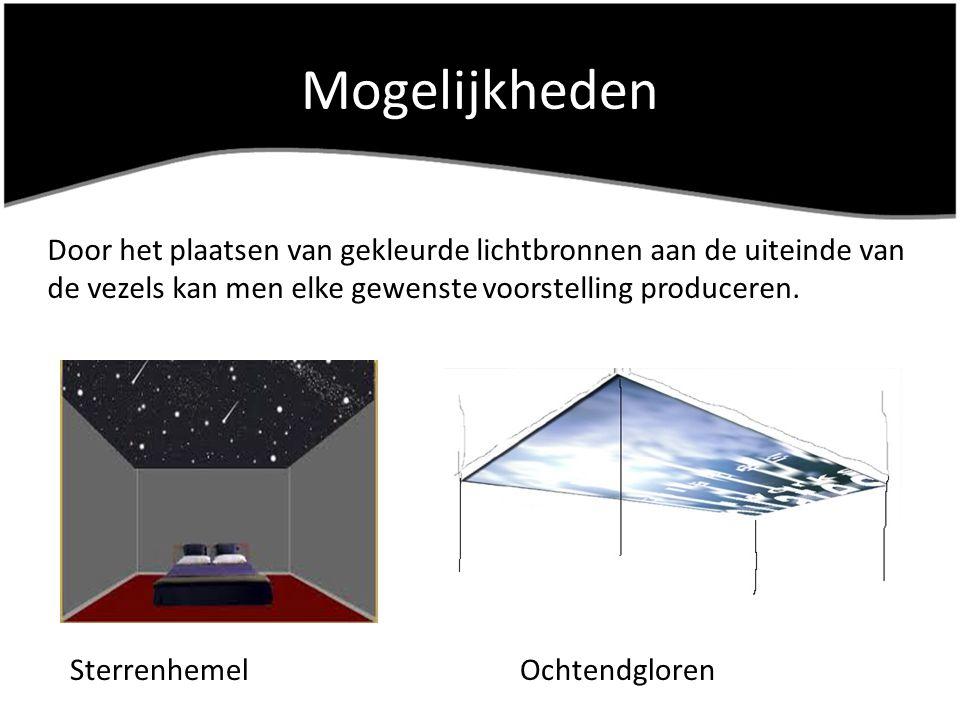 Mogelijkheden Door het plaatsen van gekleurde lichtbronnen aan de uiteinde van de vezels kan men elke gewenste voorstelling produceren. SterrenhemelOc