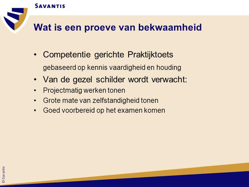 © Savantis Wat is een proeve van bekwaamheid Competentie gerichte Praktijktoets gebaseerd op kennis vaardigheid en houding Van de gezel schilder wordt