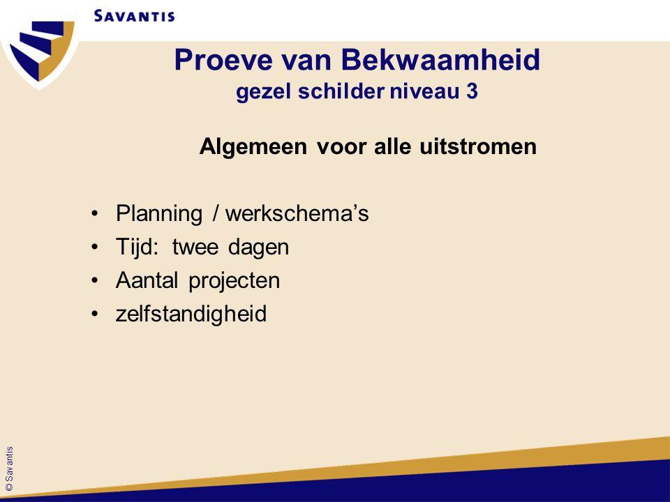 © Savantis Algemeen voor alle uitstromen Planning / werkschema's Tijd: twee dagen Aantal projecten zelfstandigheid Proeve van Bekwaamheid gezel schild