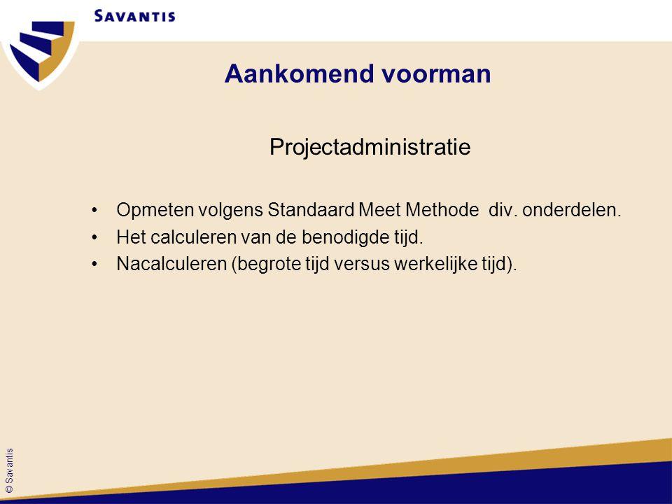 © Savantis Projectadministratie Opmeten volgens Standaard Meet Methode div. onderdelen. Het calculeren van de benodigde tijd. Nacalculeren (begrote ti
