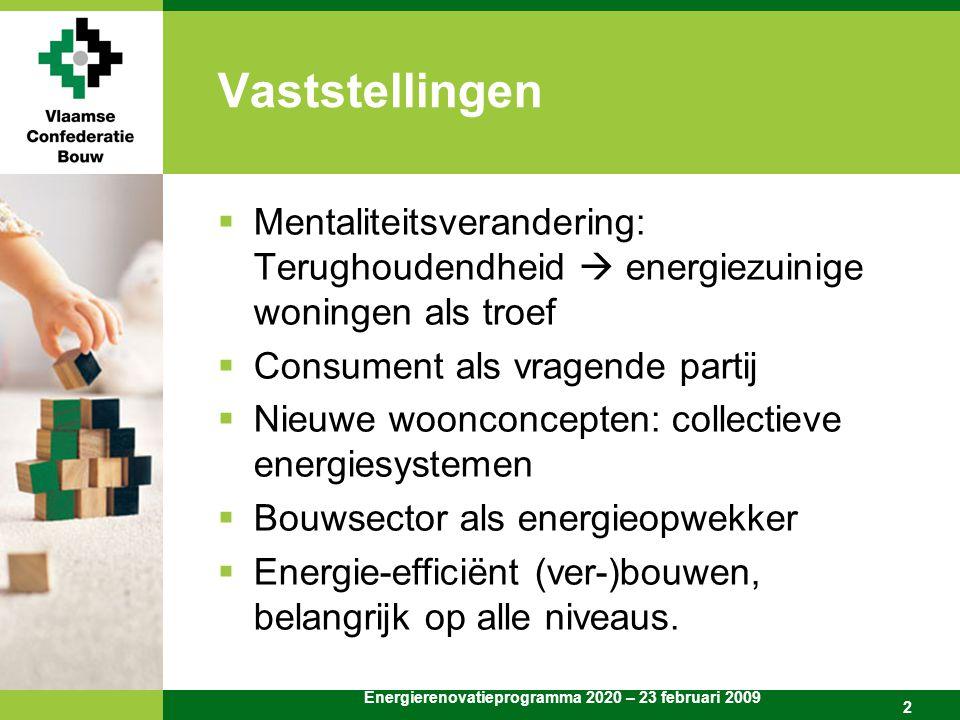 Energierenovatieprogramma 2020 – 23 februari 2009 2 Vaststellingen  Mentaliteitsverandering: Terughoudendheid  energiezuinige woningen als troef  Consument als vragende partij  Nieuwe woonconcepten: collectieve energiesystemen  Bouwsector als energieopwekker  Energie-efficiënt (ver-)bouwen, belangrijk op alle niveaus.