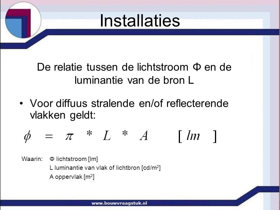 De relatie tussen de lichtstroom Φ en de luminantie van de bron L Voor diffuus stralende en/of reflecterende vlakken geldt: Waarin: Φ lichtstroom [lm]