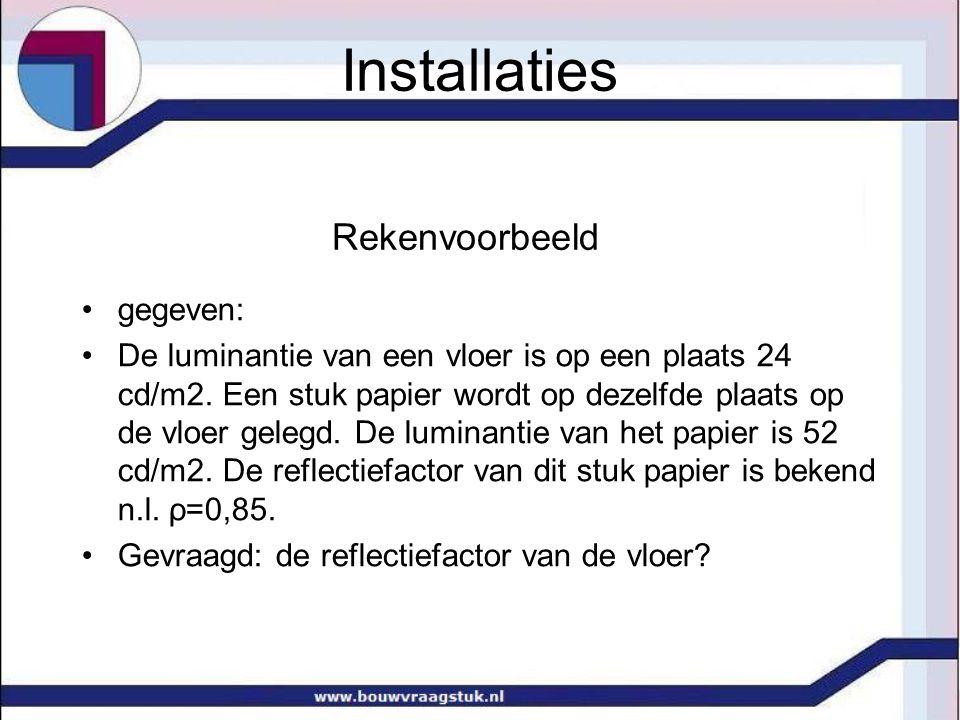 Rekenvoorbeeld gegeven: De luminantie van een vloer is op een plaats 24 cd/m2. Een stuk papier wordt op dezelfde plaats op de vloer gelegd. De luminan