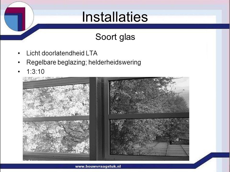 Soort glas Licht doorlatendheid LTA Regelbare beglazing; helderheidswering 1:3:10 Installaties