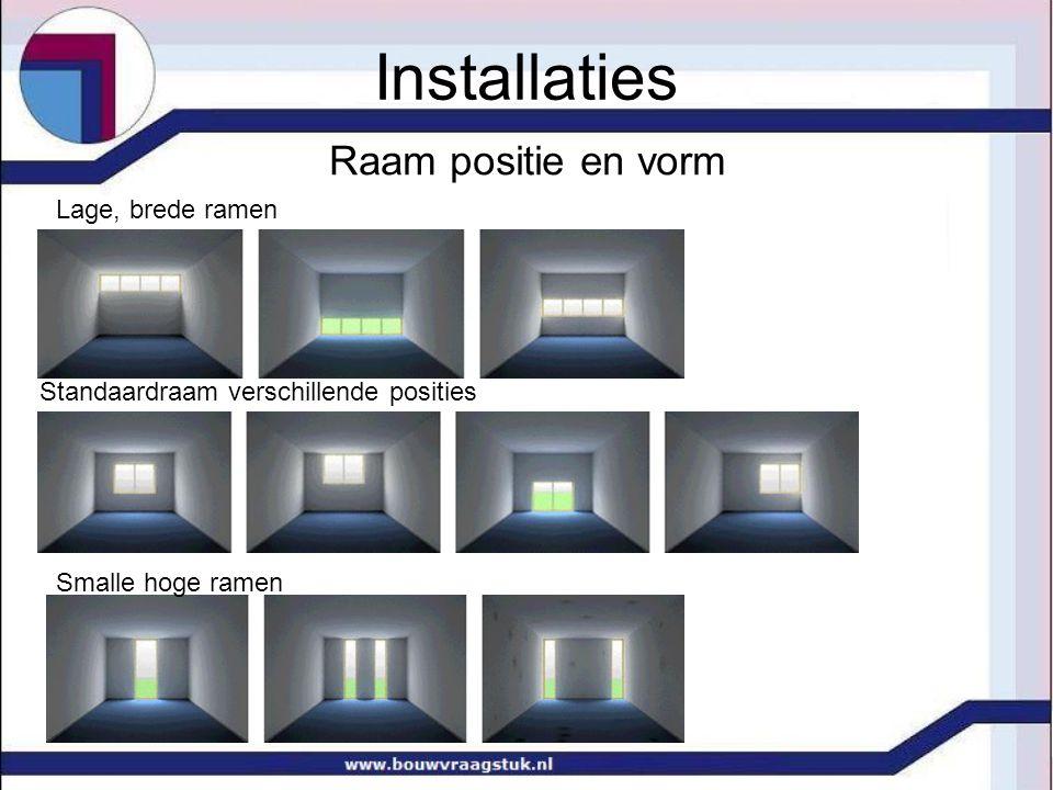 Raam positie en vorm Smalle hoge ramen Standaardraam verschillende posities Lage, brede ramen Installaties