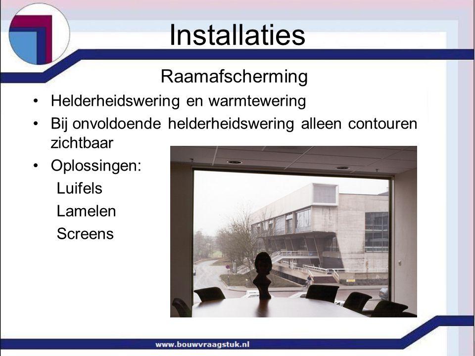 Raamafscherming Helderheidswering en warmtewering Bij onvoldoende helderheidswering alleen contouren zichtbaar Oplossingen: Luifels Lamelen Screens In