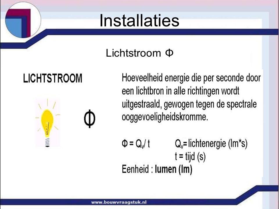 Oriëntatie raam Oriëntatie geeft met name kleur licht (noord blauw licht) Oriëntatie behorende bij dagtaak (slaapkamer op oosten) Warmtestraling vaak meer van belang dan licht Installaties