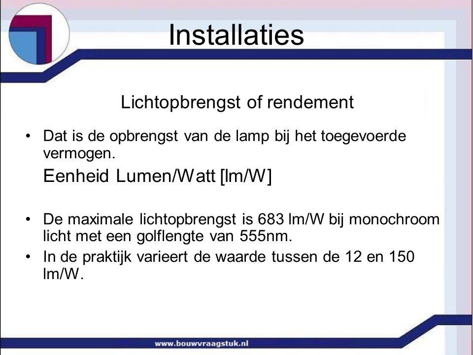 lichtrendementen van enkele lichtbronnen Soort lampLichtrendement Gloeilamp 20 W 12 lm/W Gloeilamp 60 W 15 lm/W Halogeenlamp 22 lm/W Spaarlamp 18 W 61 lm/W Fluoriscentielamp TL36W/830 93 lm/W Direct zonlicht 80 lm/W Diffuus zonlicht115 lm/W Installaties