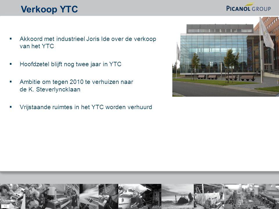 10  Akkoord met industrieel Joris Ide over de verkoop van het YTC  Hoofdzetel blijft nog twee jaar in YTC  Ambitie om tegen 2010 te verhuizen naar