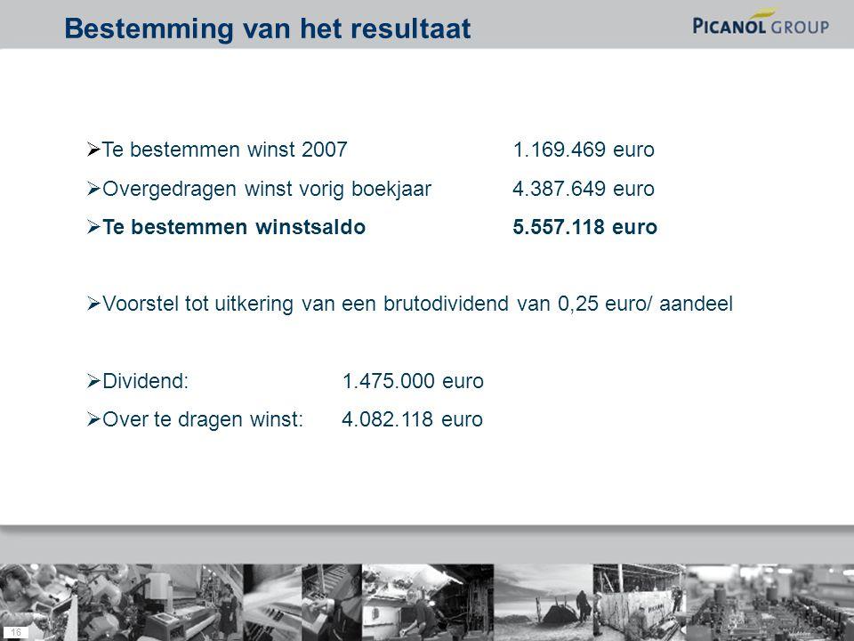 16  Te bestemmen winst 20071.169.469 euro  Overgedragen winst vorig boekjaar4.387.649 euro  Te bestemmen winstsaldo5.557.118 euro  Voorstel tot uitkering van een brutodividend van 0,25 euro/ aandeel  Dividend:1.475.000 euro  Over te dragen winst:4.082.118 euro Bestemming van het resultaat