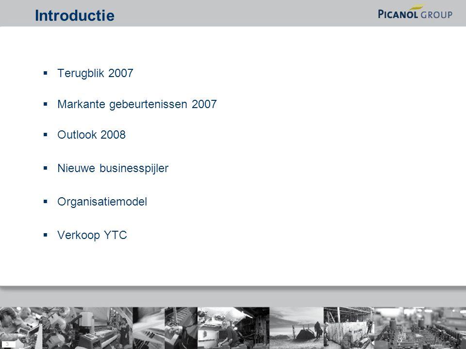 3  Terugblik 2007  Markante gebeurtenissen 2007  Outlook 2008  Nieuwe businesspijler  Organisatiemodel  Verkoop YTC Introductie