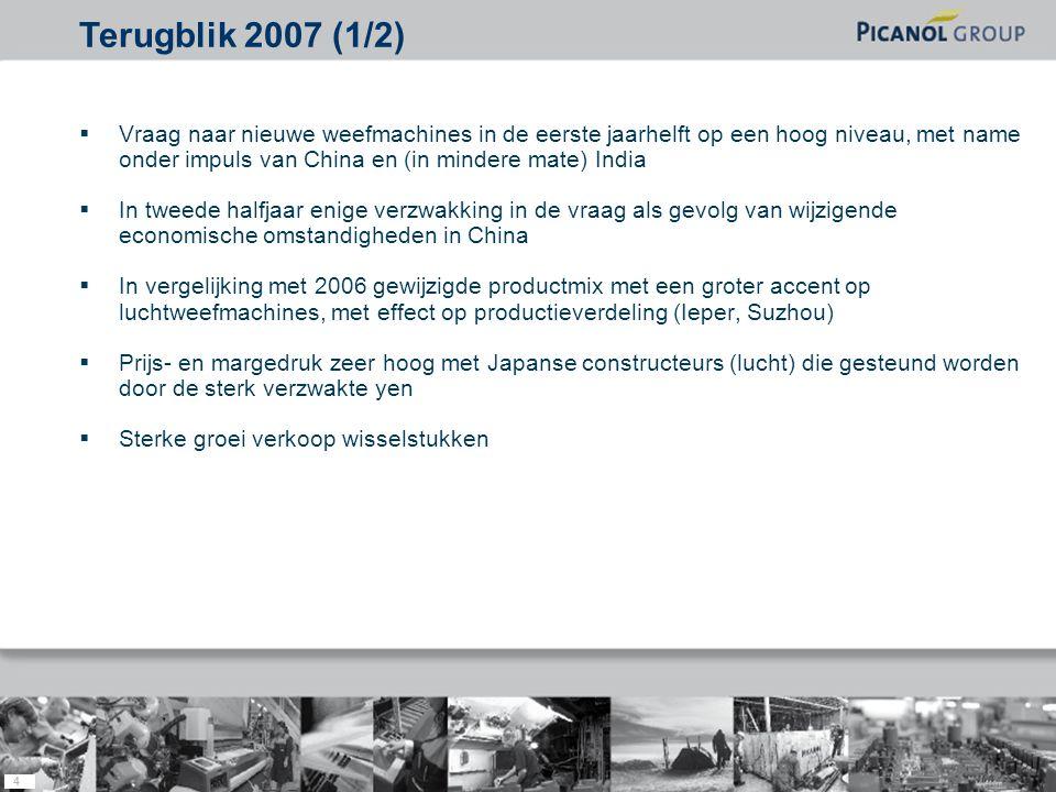 4  Vraag naar nieuwe weefmachines in de eerste jaarhelft op een hoog niveau, met name onder impuls van China en (in mindere mate) India  In tweede halfjaar enige verzwakking in de vraag als gevolg van wijzigende economische omstandigheden in China  In vergelijking met 2006 gewijzigde productmix met een groter accent op luchtweefmachines, met effect op productieverdeling (Ieper, Suzhou)  Prijs- en margedruk zeer hoog met Japanse constructeurs (lucht) die gesteund worden door de sterk verzwakte yen  Sterke groei verkoop wisselstukken Terugblik 2007 (1/2)