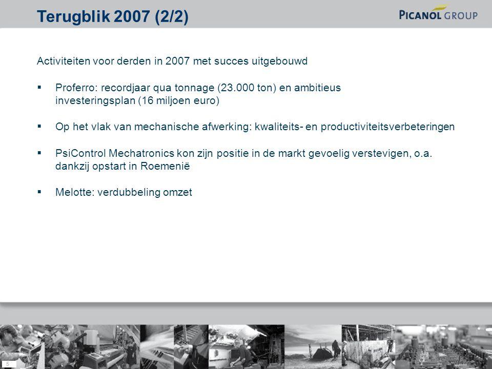 5 Activiteiten voor derden in 2007 met succes uitgebouwd  Proferro: recordjaar qua tonnage (23.000 ton) en ambitieus investeringsplan (16 miljoen euro)  Op het vlak van mechanische afwerking: kwaliteits- en productiviteitsverbeteringen  PsiControl Mechatronics kon zijn positie in de markt gevoelig verstevigen, o.a.