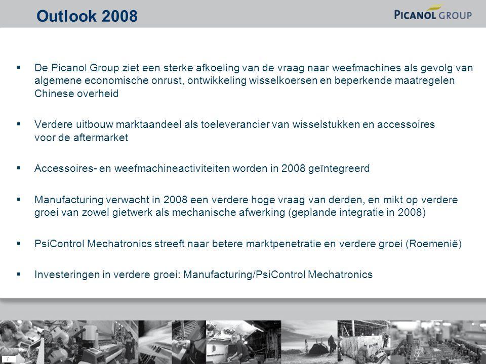 7  De Picanol Group ziet een sterke afkoeling van de vraag naar weefmachines als gevolg van algemene economische onrust, ontwikkeling wisselkoersen en beperkende maatregelen Chinese overheid  Verdere uitbouw marktaandeel als toeleverancier van wisselstukken en accessoires voor de aftermarket  Accessoires- en weefmachineactiviteiten worden in 2008 geïntegreerd  Manufacturing verwacht in 2008 een verdere hoge vraag van derden, en mikt op verdere groei van zowel gietwerk als mechanische afwerking (geplande integratie in 2008)  PsiControl Mechatronics streeft naar betere marktpenetratie en verdere groei (Roemenië)  Investeringen in verdere groei: Manufacturing/PsiControl Mechatronics Outlook 2008
