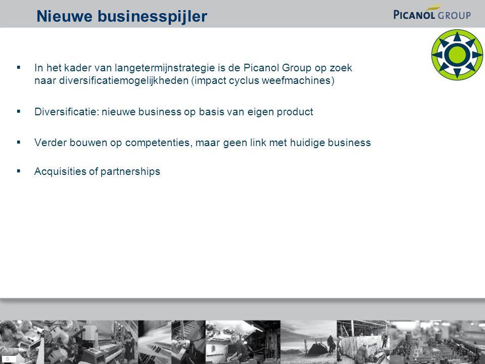 8  In het kader van langetermijnstrategie is de Picanol Group op zoek naar diversificatiemogelijkheden (impact cyclus weefmachines)  Diversificatie: nieuwe business op basis van eigen product  Verder bouwen op competenties, maar geen link met huidige business  Acquisities of partnerships Nieuwe businesspijler