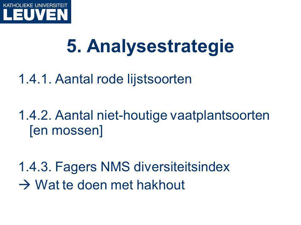 5. Analysestrategie 1.4.1. Aantal rode lijstsoorten 1.4.2.