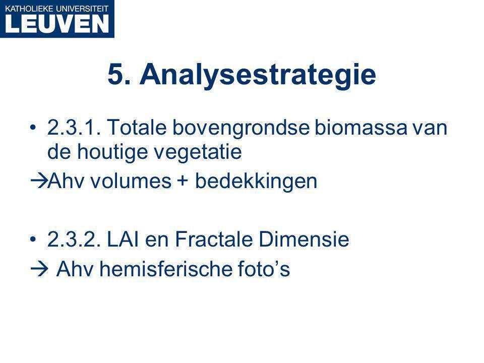 2.3.1. Totale bovengrondse biomassa van de houtige vegetatie  Ahv volumes + bedekkingen 2.3.2.