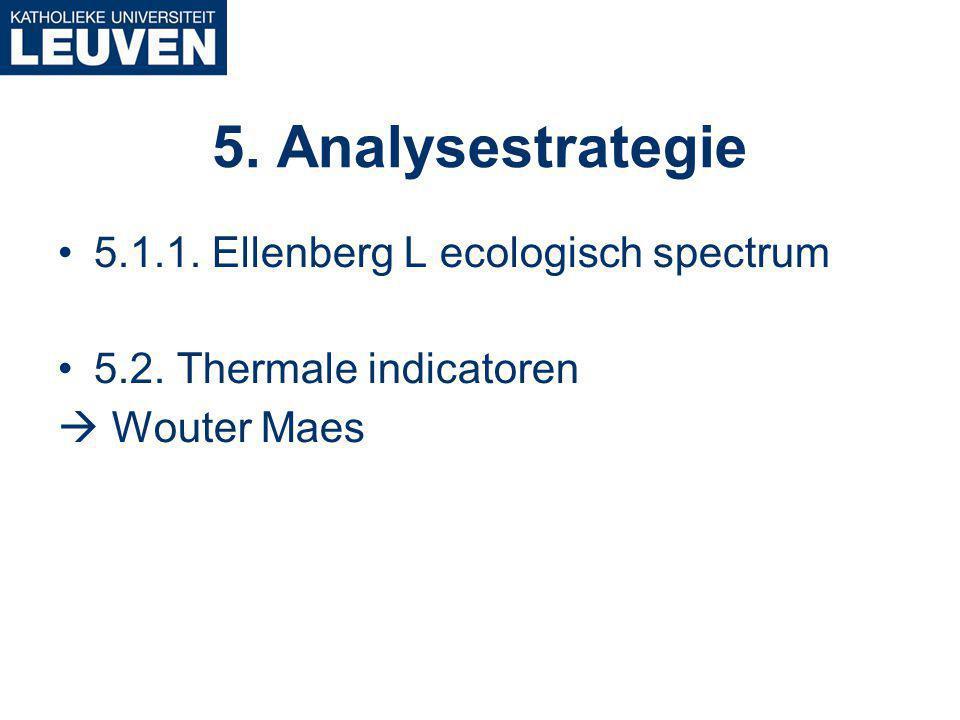 5.1.1. Ellenberg L ecologisch spectrum 5.2. Thermale indicatoren  Wouter Maes 5. Analysestrategie