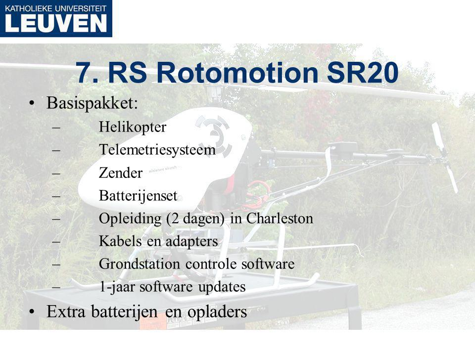 7. RS Rotomotion SR20 Basispakket: –Helikopter –Telemetriesysteem –Zender –Batterijenset –Opleiding (2 dagen) in Charleston –Kabels en adapters –Grond