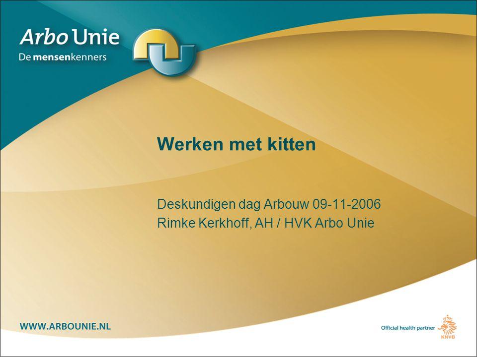 Werken met kitten Deskundigen dag Arbouw 09-11-2006 Rimke Kerkhoff, AH / HVK Arbo Unie