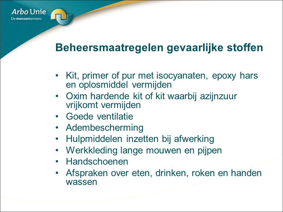 Beheersmaatregelen gevaarlijke stoffen Kit, primer of pur met isocyanaten, epoxy hars en oplosmiddel vermijden Oxim hardende kit of kit waarbij azijnz