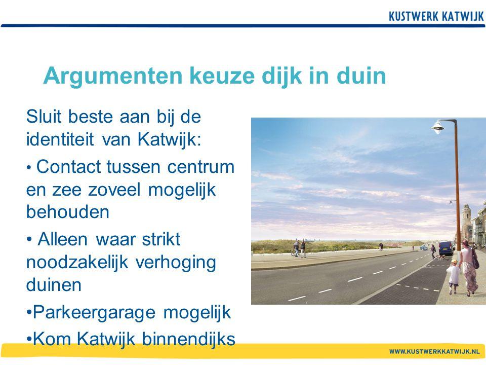 Argumenten keuze dijk in duin Sluit beste aan bij de identiteit van Katwijk: Contact tussen centrum en zee zoveel mogelijk behouden Alleen waar strikt