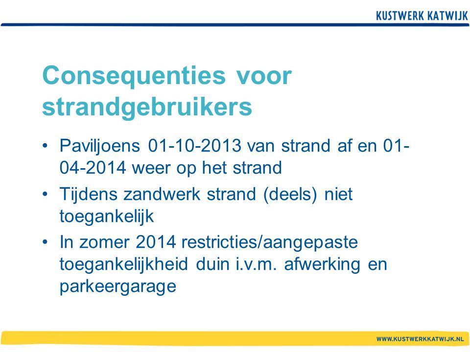 Consequenties voor strandgebruikers Paviljoens 01-10-2013 van strand af en 01- 04-2014 weer op het strand Tijdens zandwerk strand (deels) niet toegank