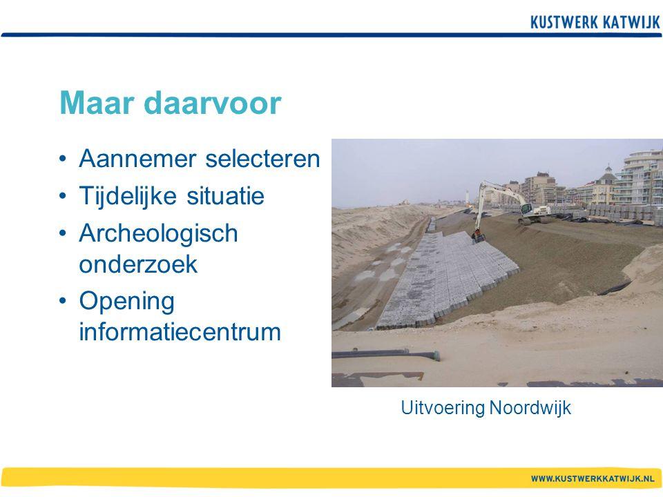 Maar daarvoor Aannemer selecteren Tijdelijke situatie Archeologisch onderzoek Opening informatiecentrum Uitvoering Noordwijk