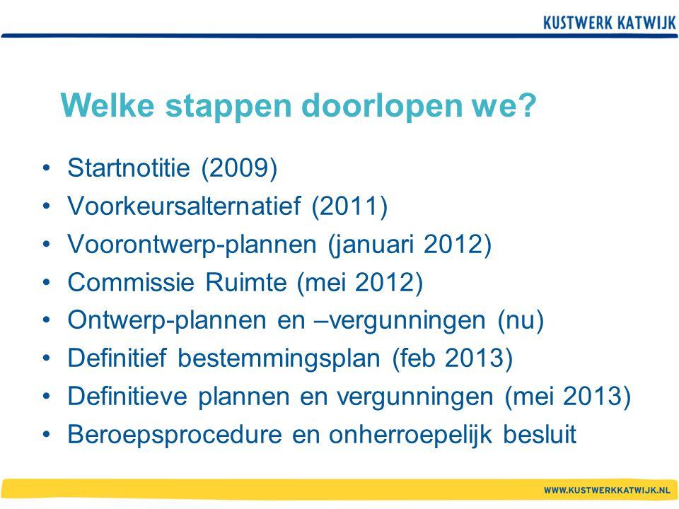 Welke stappen doorlopen we? Startnotitie (2009) Voorkeursalternatief (2011) Voorontwerp-plannen (januari 2012) Commissie Ruimte (mei 2012) Ontwerp-pla